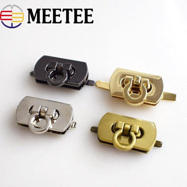 Meetee 25x17mm Rectangle Locks Buckle For Handbag Twist Turn Lock Snaps Replacement Bags Purse Clasp Closure Hardware Accessories