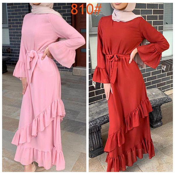 JJ810 Muslim Best Selling Solid Color Ruffled Fishtail Bag Hip long Dress Abayas for Women Long Sleeve Dress