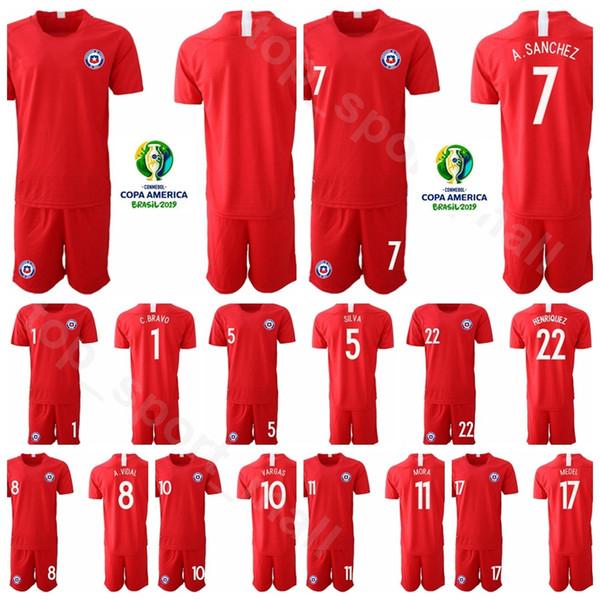 Cile 17 Gary Medel Jersey Set 2019 Copa America Soccer 20 Charles Aranguiz 13 Erick Pulgar Maglia da calcio Kit uniforme Nome personalizzato Numero