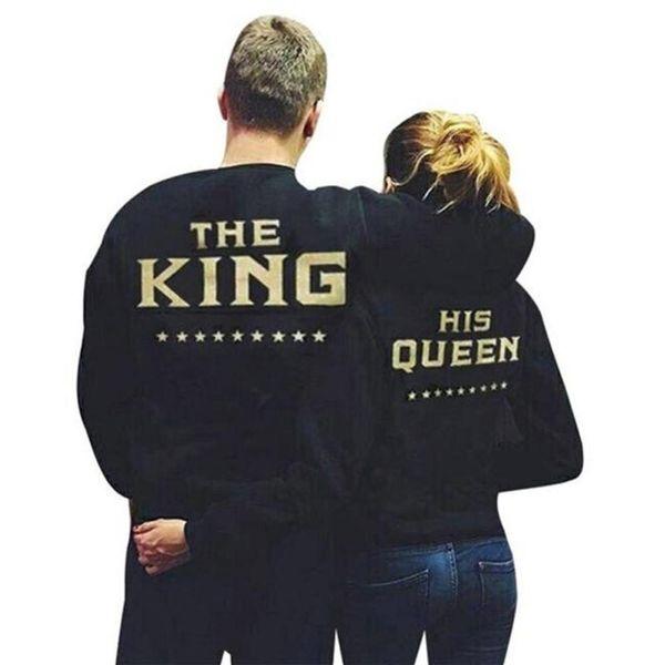 König Königin Briefe Drucken Männer Frauen Liebhaber Paar Fleece Herbst Winter Hoodies Sweatshirts Neue Mode Größe S-5XL