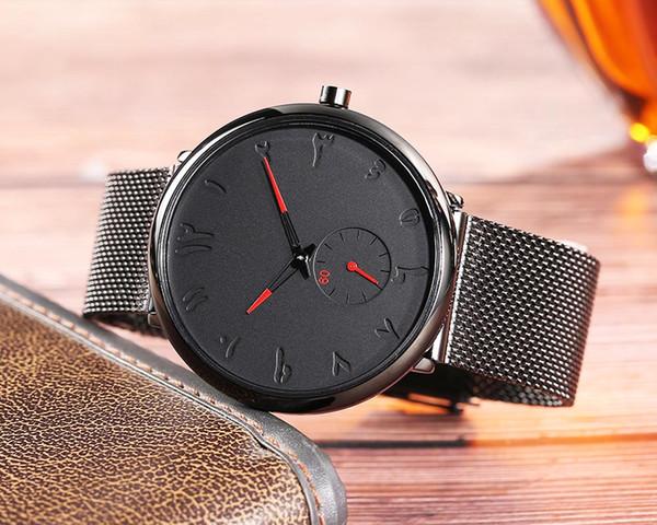 Maglia d'acciaio Francia Design numero arabo impermeabile Watch uomo o vigilanze delle donne Relogio Masculino