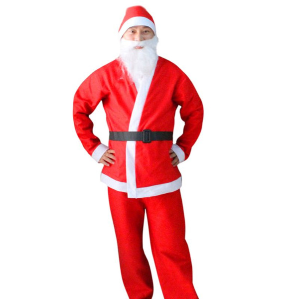1 Set Adult Unisex Cosplay Christmas Suit Santa Claus Costume Long Sleeve Coat Pants Beard Hat Belt Holiday Party Outfit