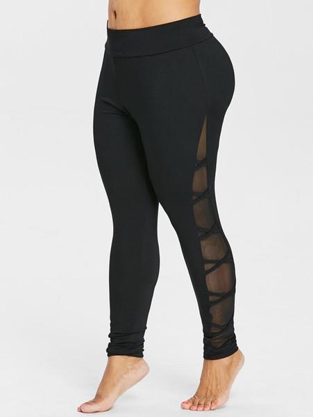 Wipalo Plus Size Criss Cross Sheer Mesh Insert Leggings Solid Elastic High Waist Skinny Casual Pencil Pants Ladies Trousers 5XL Y190603