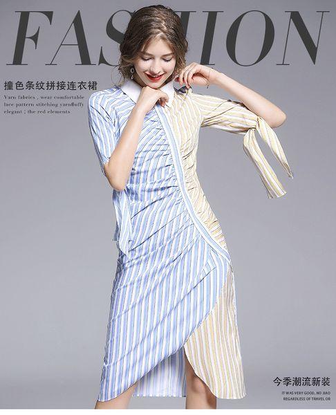 Women Midi Shirt Dress Blue Striped Print Daily Dress Pleated Elegant Half Sleeve Casual Ladies Long Spring Split Dress Plus New Arrival