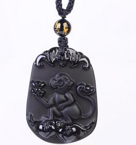Joyería de moda genuina natural obsidiana negro tallado zodiaco chino afortunado amuleto colgante libre coleira