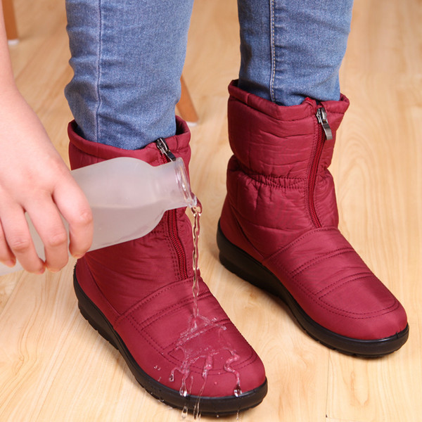 2019 Winter Boots Women Shoes Platform Female Snow Ankle Boots Waterproof Ladies Plush Insole Fur bota feminina Black Botine