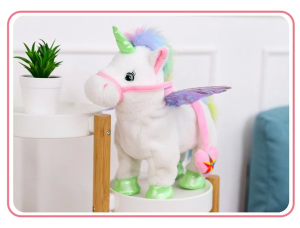 New hot selling Leash unicorn plush doll can call walk twist the butt Stuffed Animals electric plush toys children's Christmas gifts!#0110