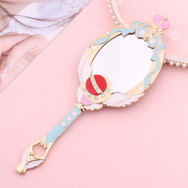 Metal Oval Hand Held Makeup Mirror Ladies Girl Crown Mirror Beauty Dresser Makeup Tool Pink Blue Mirror With Crystal ZJ0437