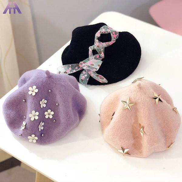 Autumn Winter kids designer hats cute Fashion Girls Hats woolen Girls beret floral Children The painter cap Kids Cap Ear Muff caps A3078