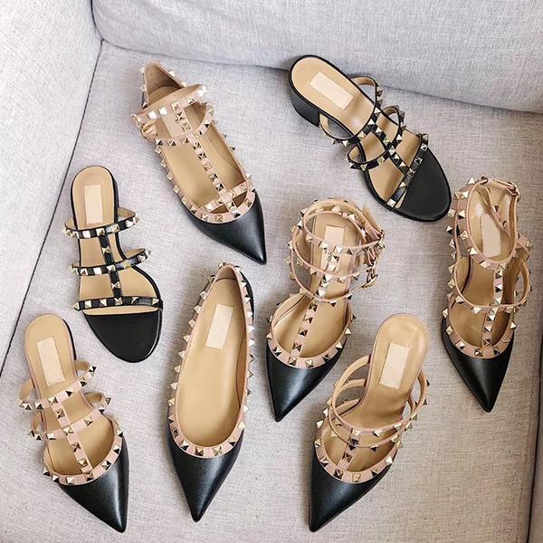Tasarımcı sandalet Spike Yüksek Topuklu 2-6-10 cm Hakiki deri Seksi Elbise Ayakkabı Yüksek Topuklu Kadın Ayakkabı Çıplak Siyah Pompa Patent kayış Ayakkabı