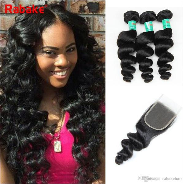 Paquetes de cabello humano indio de onda suelta con cierre Extensiones de cabello virgen brasileño pueden ser enderezadas y rizadas Textura agradable Ola suelta