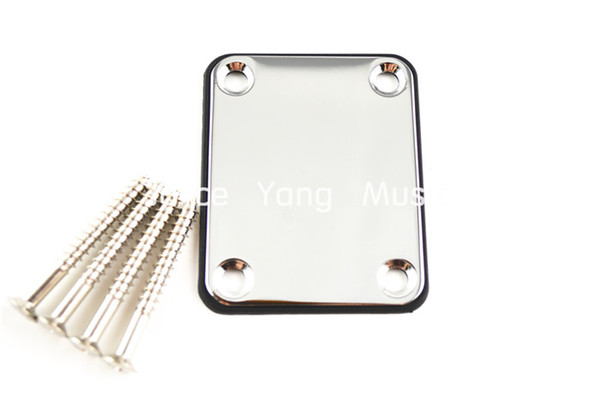 best selling Niko Chrome Electric Guitar Neck Plate With 4 Screws For Fender Strat Tele Style Guitar Electric Bass Guitar Free Shipping