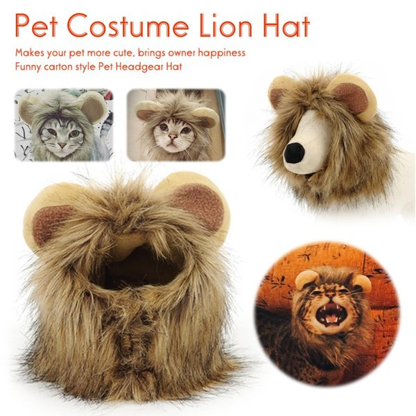 Funny Pet Costume Cosplay Lion Mane Wig Cap Hat for Cat Halloween Xmas Cloths Fancy Dress with Ears Autumn Winter