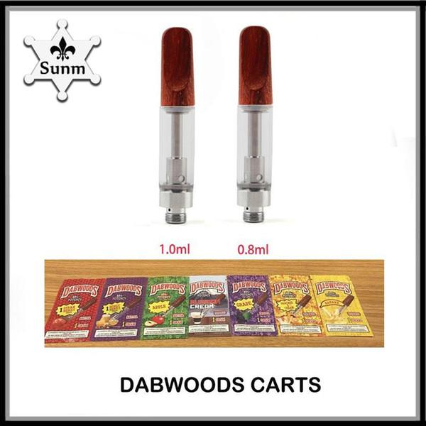 DABWOODS Тележки 0.8 мл 1.0 мл th205 Керамическая катушка Древесный капельный наконечник Толстый масляный картридж 510 для 7 ароматов vs tko kingpen cart