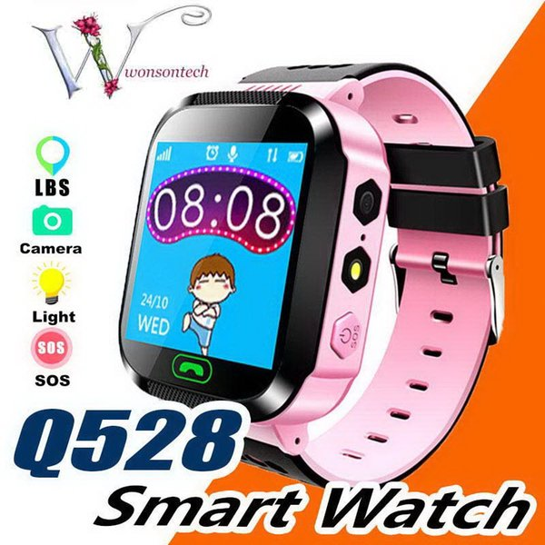 2019 Touch Screen Q528 GPS Tracker Watch Anti-lost Children Kids Smart watch LBS Tracker Wrist Watchs SOS Call For Android IOS P-BS