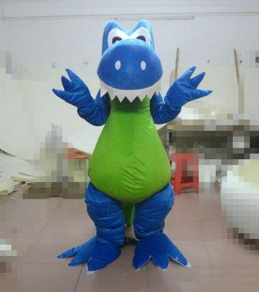 Disfraz de mascota de dinosaurio azul Juego de fiesta Vestimenta Ropa Publicidad Carnaval Halloween Navidad Festival de Pascua Adulto