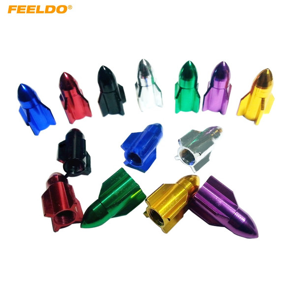 FEELDO 4PCS/Set Missile Models Color Aluminum Valve Caps Gas Leak Tire Caps For Car Decoration 7-Color #5484