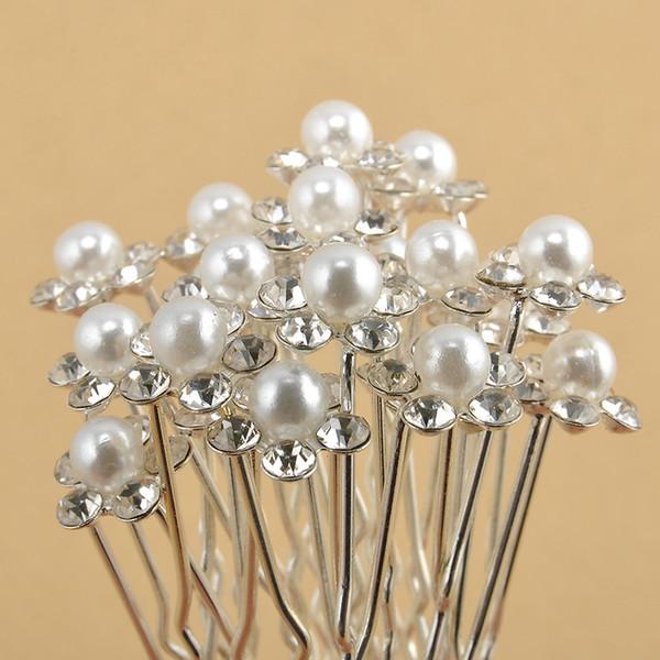 Women Hairpin Retro Pearl Flower with Diamond Hair Sticks Clips Headwear Crystal Diamante Pearl Flower Hair Pins