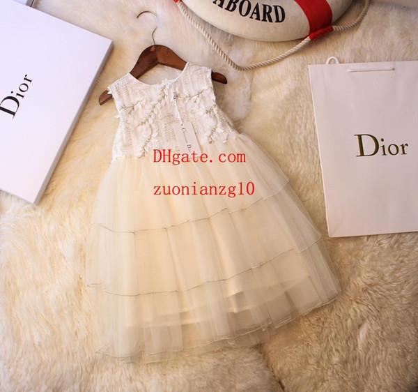 2019 verão bebê meninas vestido folha bordado halter princesa vestido casual moda vestidos crianças roupas crianças roupas meninas ABF-5