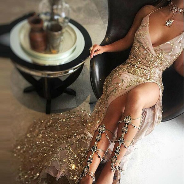 Joyinparty Night Club Elegant 2019 Robes De Festa Femmes Sexy Robes Or Brillant Sequin Longue Soirée Maxi Robe De Fête De Printemps Y190425