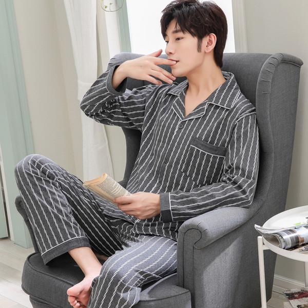 masculin de coton pour hommes pyjama Printemps Automne pijama Hommes de nuit rayé sommeil pyjamas Plus Size