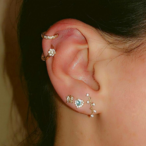 3 Sets Carved leaves ear Helix Cartilage earring Fake Nose Ring Tragus Piercing Body Jewelry