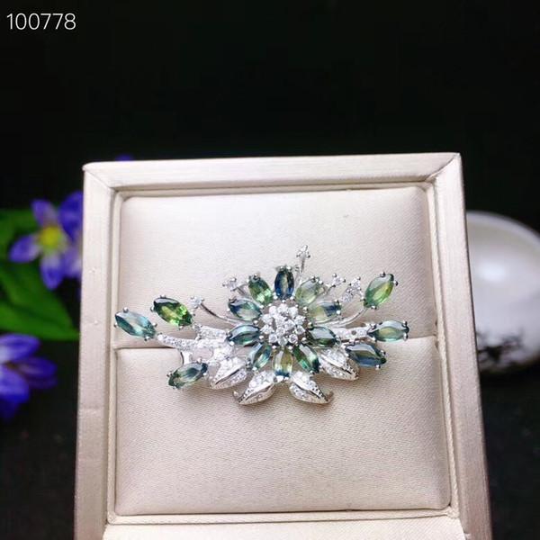 Broche de zafiro natural, plata 925, especialmente hermoso, estilo de flor, gema de buena calidad