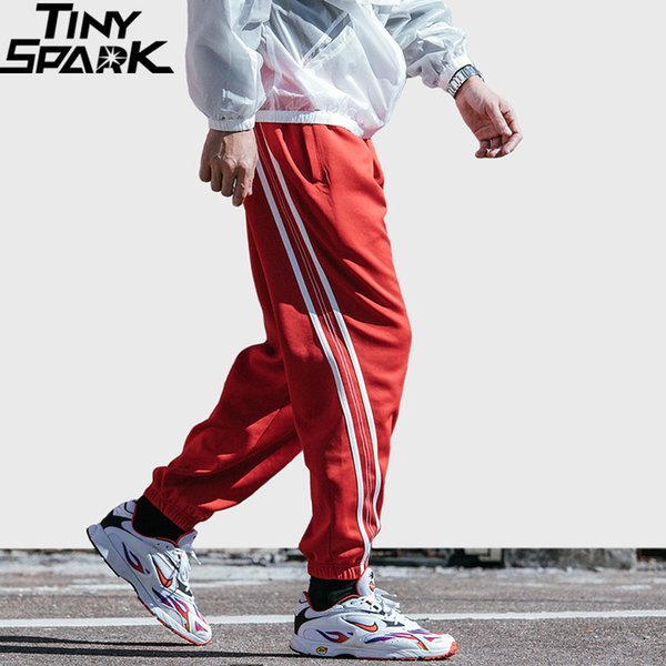 2019 Hip Hip Men Jogger Pant Harajuku Sweatpant Streetwear Red Stripe Track Pants Ankle Sweat Trousers Fashion Spring Harem Pant