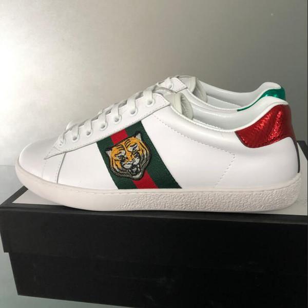 Meistverkaufte Designer Schuhe grün rot gestreiften Stickerei Tigerkopf ACE Leder Designer Freizeitschuhe weiße Marke Männer und Frauen Freizeitschuhe