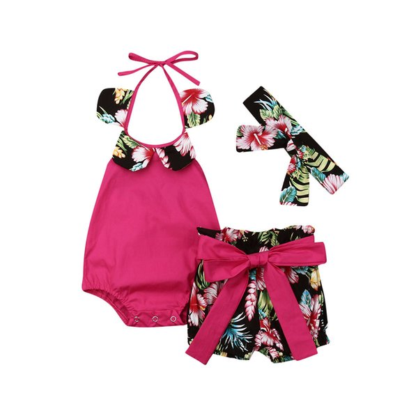 Brand Toddler Baby Kids Girls Halter Tops Sleeveless Flower Collar Romper Pants Bow PP Shorts Headband Holiday Baby Clothes