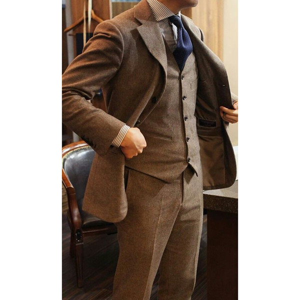 Latest Coat Pant Designs Brown Tweed Men Suit Slim Fit Skinny 3 Piece Tuxedo Custom Groom Prom Blazer Mens Suits Masculino C19041601