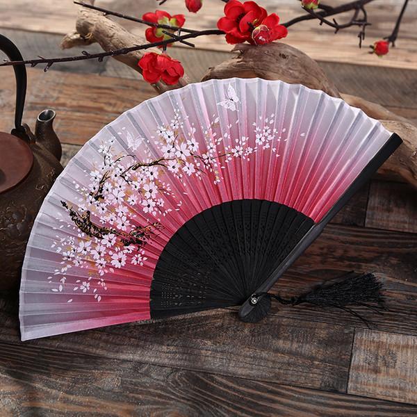Heiße Frauen Faltfächer Kirschblüten Bambus Hand Fan Seidenfächer Tabletop Decor Kunst und Handwerk