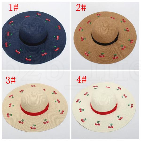 Büyük Brim Plaj Güneş Nakış Çiçekler Straw Kadın Floppy Hasır Şapka Kadın Tatil Sunhat Geniş Brim şapka KKA7563