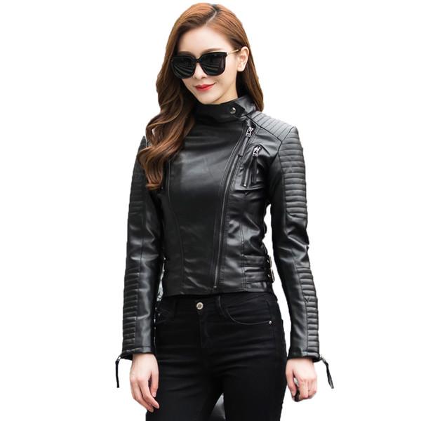 Autumn Women Punk Leather Jacket Soft PU Faux Leather Female Jackets Basic Bomber Leather Coats 19SS