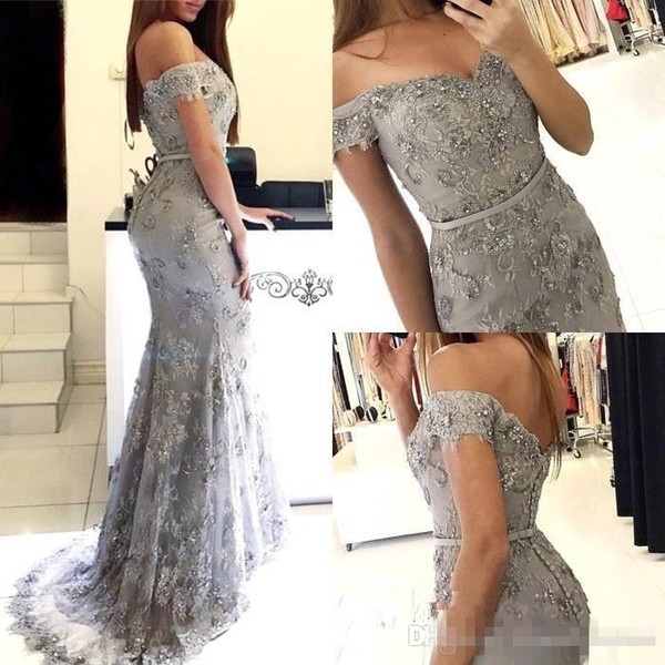 2019 Elegant Off The Shoulder Lace Mermaid Prom Dresses Sequin Sash Floor Length Evening Party Gowns Plus Size Special Occasion Dresses