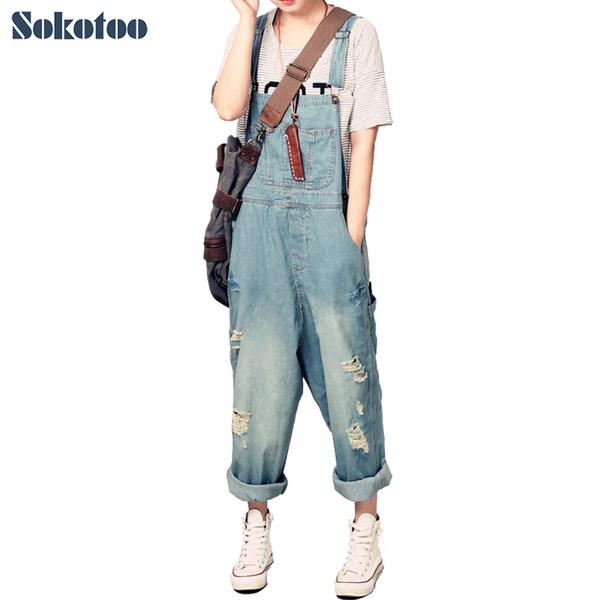 Sokotoo Las mujeres sueltas ocasionales overoles de mezclilla gran tamaño agujero de la señora rasgado jeans holgados pantalones de pierna ancha T19053106