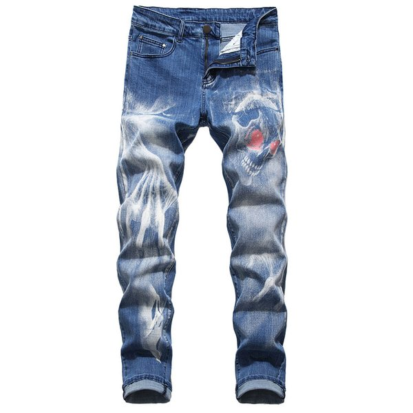 Mens New Fashion 3D Personality Jeans Slim Fit Pants Classic Denim Jeans Designer Trousers Casual Straight Elasticity Pants C1