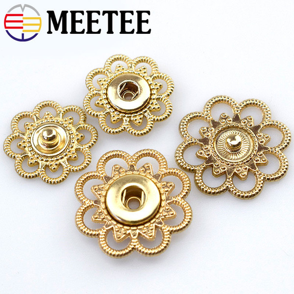 MEETEE 50pcs 21/25mm Gold Color Metal Snap Button for Clothing DIY Female Woolen Coat Buttons Crafts Sewing Accessories D3-2+