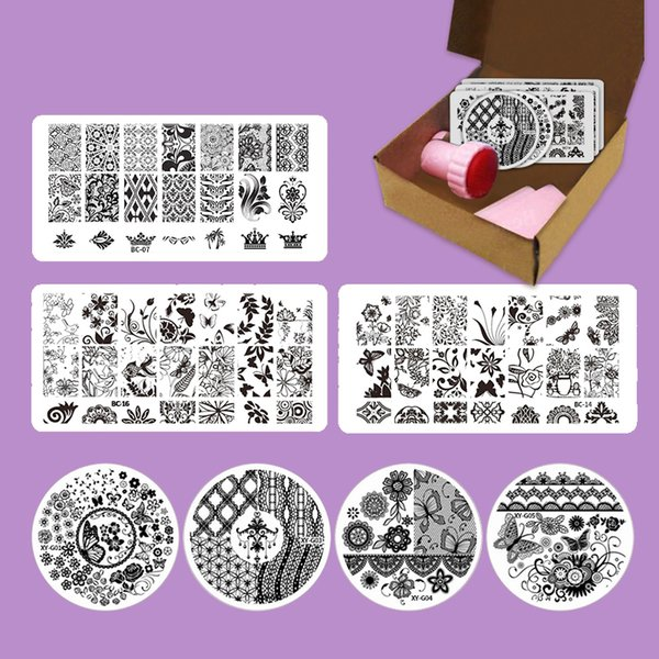 Manicure Set Stamping Nail Art Butterfly Lace Design Decoration Stencil Nail Stamp Plastic Template plate Scraper Stamper
