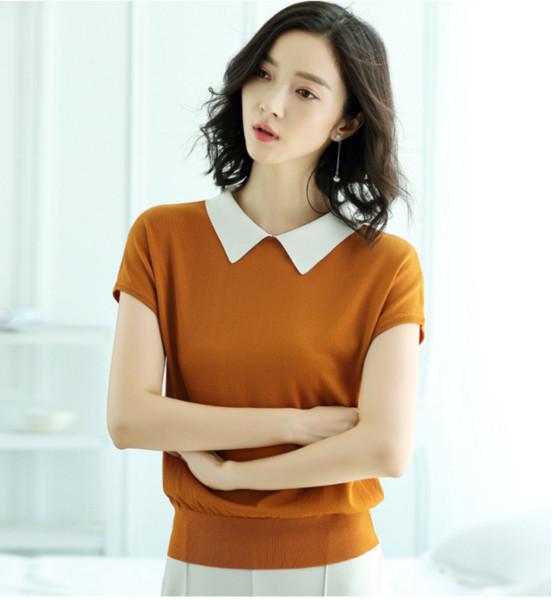 2019 Verão nova versão coreana venda quente T-shirt, manga curta ice silk camisola de malha, vestido de gola alta atacado