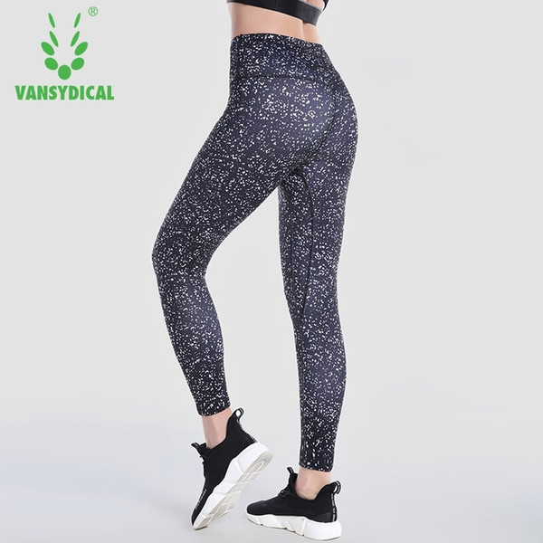Vansydical Women's Printed Yoga Pants High-waist Compression Running Tights Breathable Training Jogging Gym Sports Leggings #197963