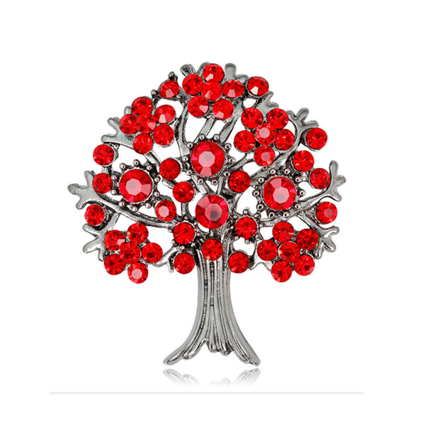 Vintage Big Life Tree Brooch Pins Luxury Rhinestone Gold Silver Plated Brooches Unisex for Men Women Red Gold Colors Fashion Jewerly