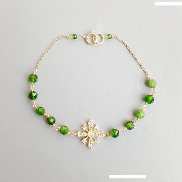 Gioielli verde Diopsides zircone fiocchi di neve Bracciale argento sterling 925 delicato Hanamade braccialetto per i monili delle donne del giglio