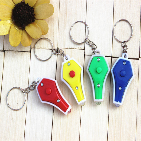top popular 4 Colors Fashion Key Ring Mini Flashlights Cheap Uv Money Detector Led Keychain Light Multicolor Small Gift Dhl Free Shipping 2019