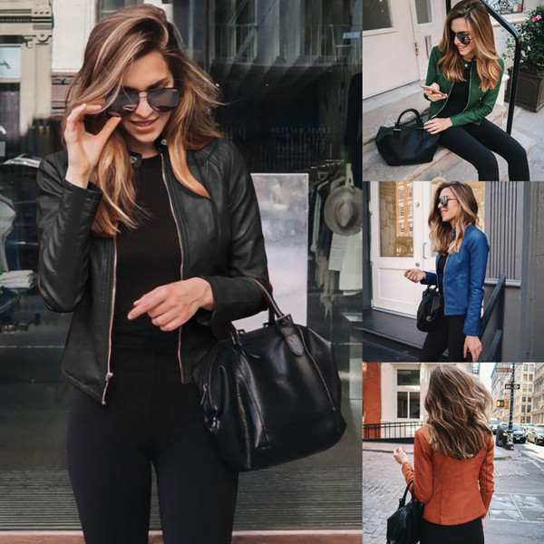 best selling 2020 Fashion Designer Women Fall Winter Short Suit Jacket Autumn Womens All-match Blazer Jackets Lady PU Leather Coats Outerwear 12 Colors