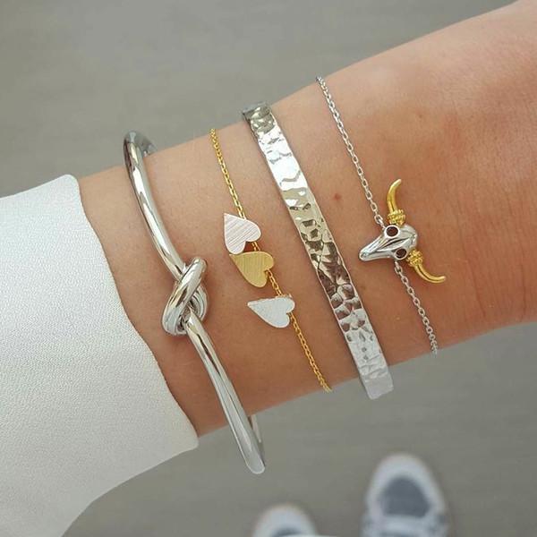4 Pcs/Set Classic Bull Head Animal Heart Knot Bangles Multilayer Adjustable Open Bracelet Set Women Fashion Party Jewelry Gift