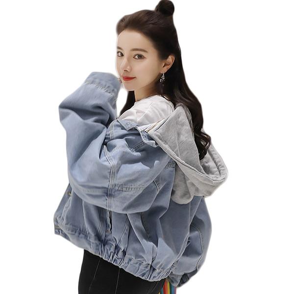 Printemps Automne Femmes Denim Jacket 2019 Style Harajuku Surdimensionné Veste À Capuche Femme Jeans Manteau Court Solide Chaquetas Mujer D689