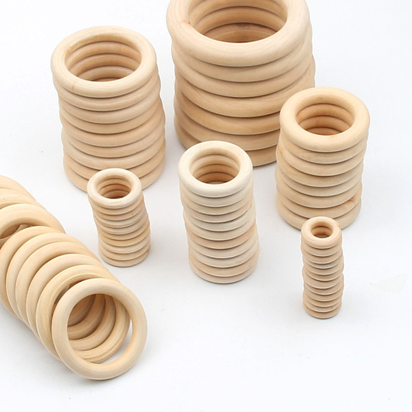 best selling 1000pcs lot 15-70MM DIY Wooden Beads Connectors Circles Rings Unfinished Natural Wood Lead-Free Beads Baby Teething Rings Wooden Rings