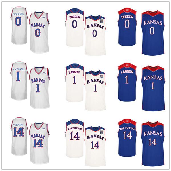 Kansas Jayhawks College # 0 Drew Gooden # 1 Dedric Lawson # 14 Darnell Valentine Basketball Jerseys Hombres cosidos personalizados Cualquier número Nombre
