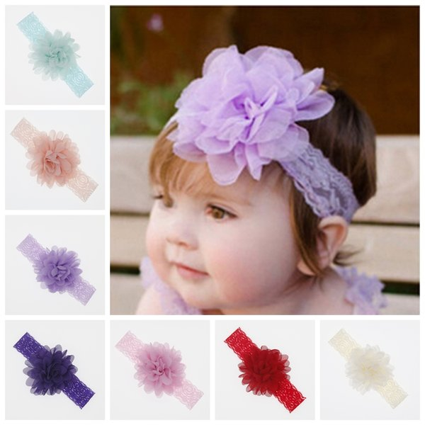Girls Baby Kids Chiffon Flower Elastic Headbands Newborn Headwear Hair Band Gift